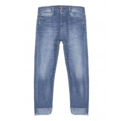 JEAN PLEASE REGULAR LONGUEUR 3/4 DELAVAGE DENIM CLAIR