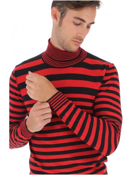 col roule homme imperial a rayures noir et rouge. Black Bedroom Furniture Sets. Home Design Ideas