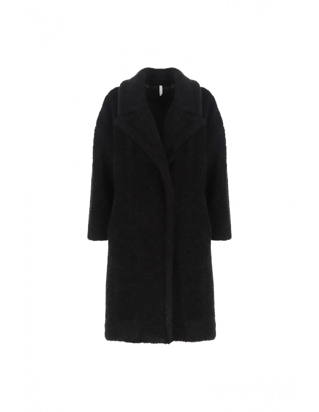 Manteau bouclette femme noir